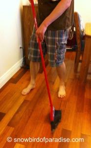Son doing housework