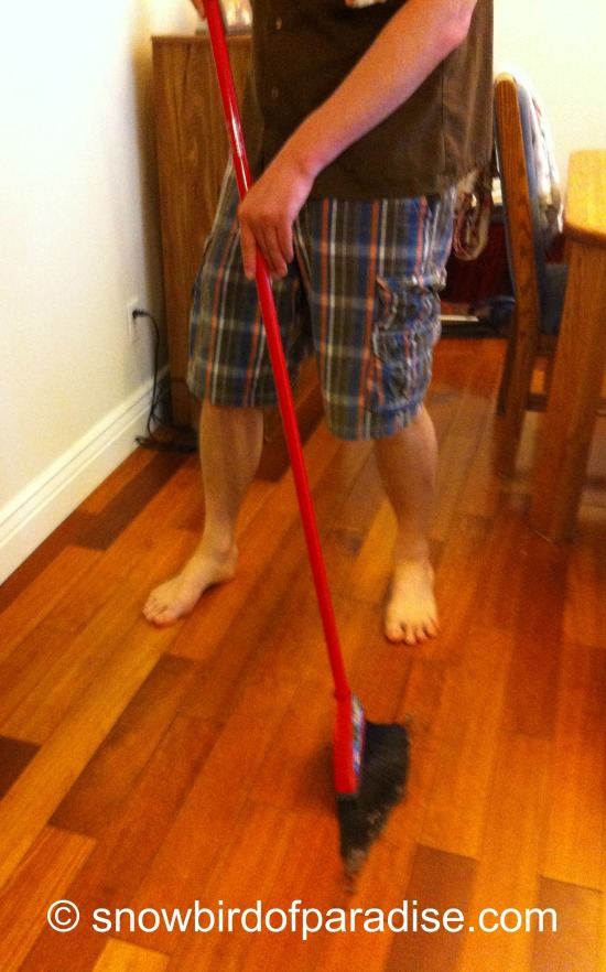 Son doing housework