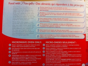 Cooking instructions on prepackaged food