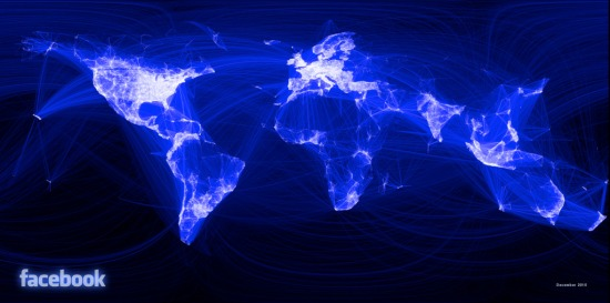 World map showing Facebook connections