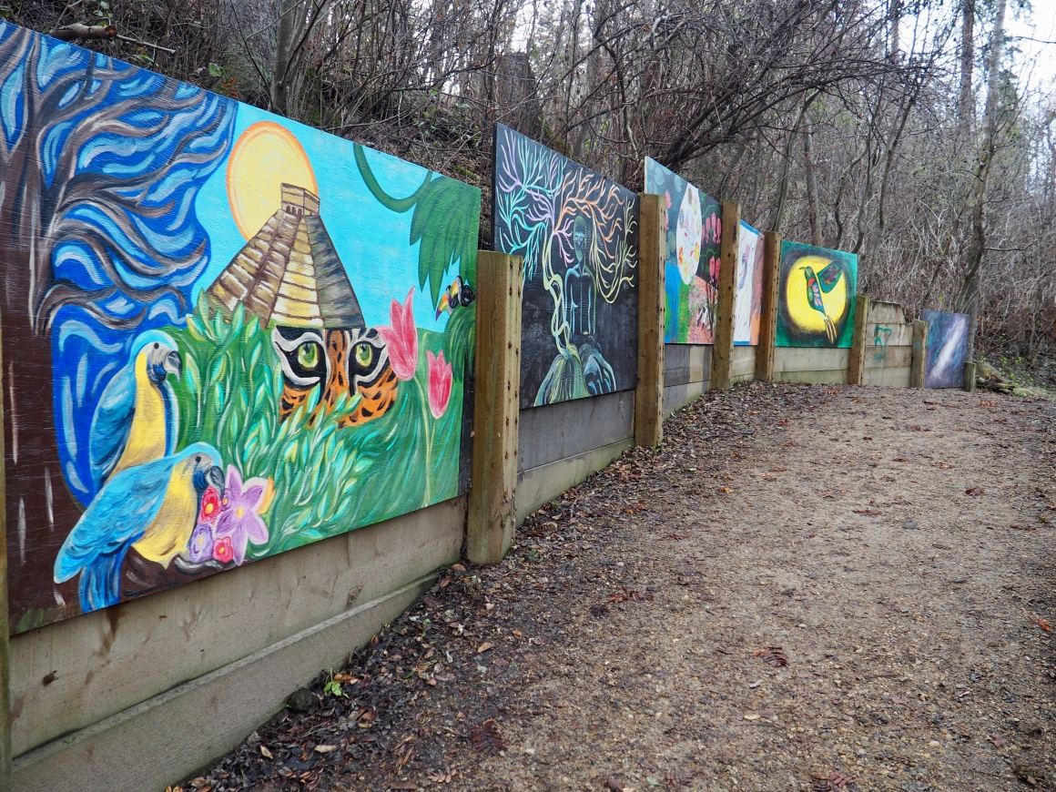 Murals on retaining wall