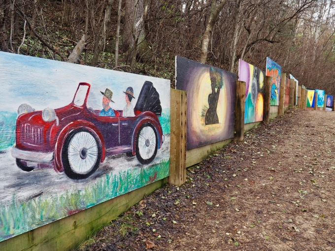 Murals on retaining wall