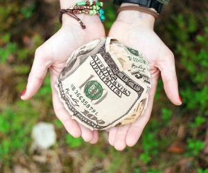 Woman's hand holding US dollars