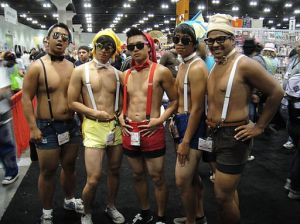 Men wearing shorts with suspenders