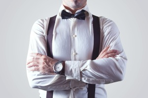 Man wearing suspenders
