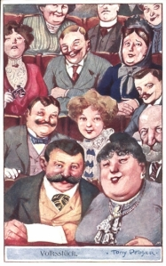 Theatre audience laughing